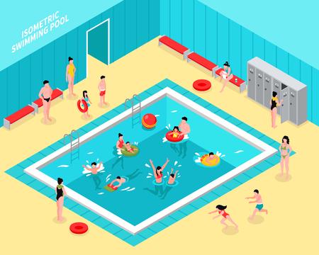Composition de piscine isométrique avec intérieur de hall de natatorium et figures d'enfants avec parents et tubes vector illustration