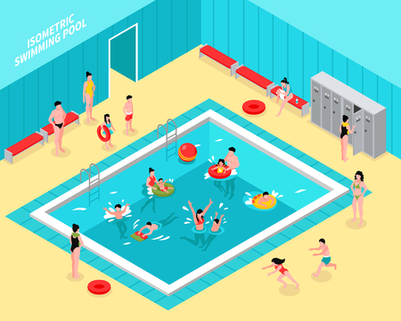 Isometric swimming pool composition with natatorium hall interior and figures of children with parents and tubes vector illustration