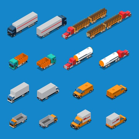 Isometric icons set with trucks for transportation timber, fuel, construction cargo isolated on blue background vector illustration