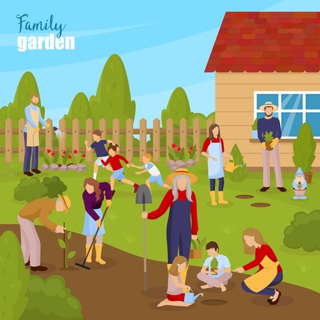 Gardening and family concept with summer house adults and children flat vector illustration