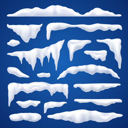 Snow capes and piles winter realistic set on blue background isolated vector illustration