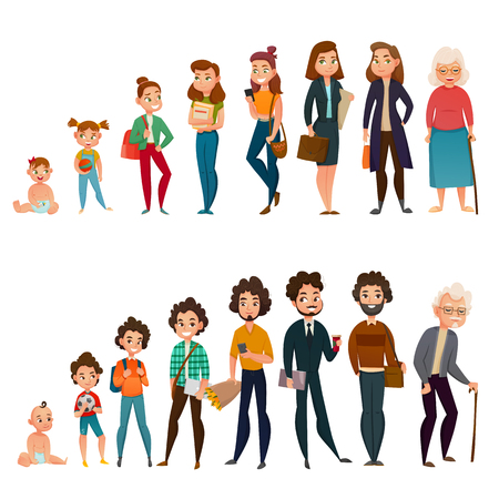 Human life cycle male and female set with childhood, school time, maturity and aging isolated vector illustration