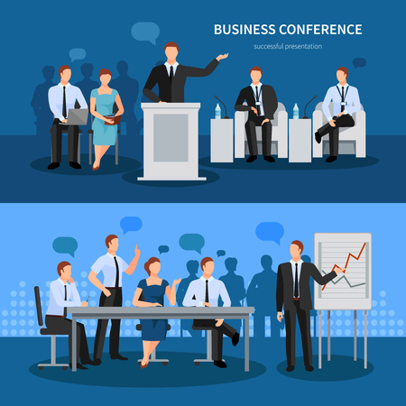 Business conference horizontal banners set with technology symbols flat isolated vector illustration Иллюстрация