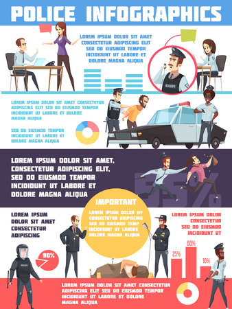 Lay-out van politieinfographics met misdadiger en opsluiting statistiekinformatie dispatcherswachten en ambtenarenpictogrammen vectorillustratie
