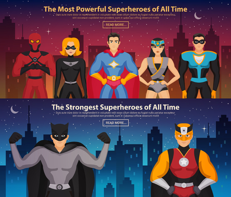 Set of horizontal banners with superheroes men and women on night city background isolated vector illustration