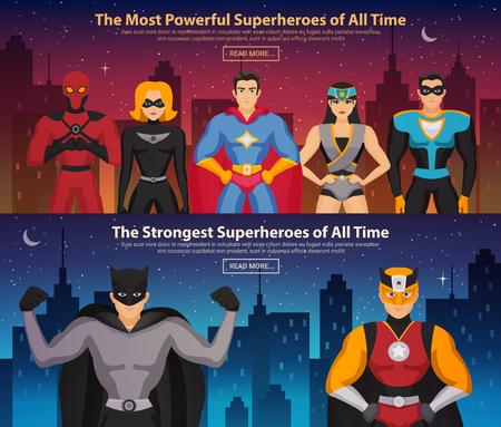 Conjunto de banners horizontales con superhéroes hombres y mujeres en el fondo de la ciudad de noche aislado ilustración vectorial