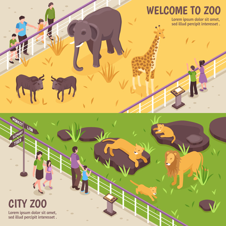 Set of two isometric zoo horizontal banners with compositions of african animals visitors and editable text vector illustration