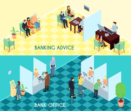 クライアントでは、待っている訪問者のためのアドバイスと銀行サービス等尺性バナー オフィス インテリア要素分離ベクトル図