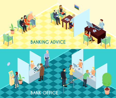 waiting room: Bank service isometric banners with advices for clients, waiting visitors, office interior elements isolated vector illustration