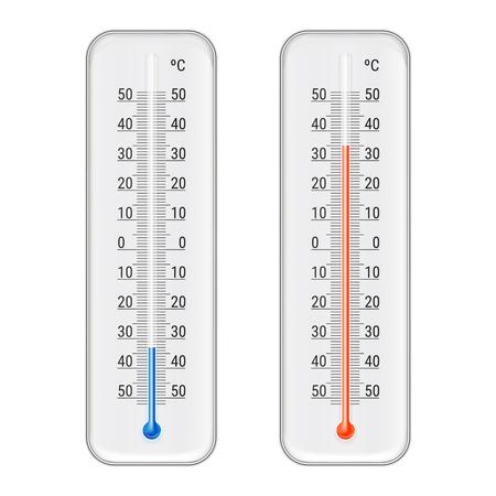 Klassieke openlucht en binnen de alcoholethanol rode en blauwe die thermometers van Celsius voor meteorologische metingen realistische vectorillustratie worden geplaatst Vector Illustratie