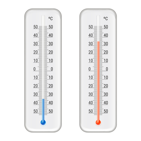 Thermomètres pour alcool éthanol rouge et bleu classiques extérieur et intérieur celsius pour illustration vectorielle réaliste Vecteurs