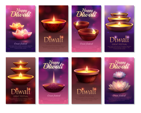 Diwali celebration vertical cards with burning letterings and festive oil lamps on blurred background isolated vector illustration