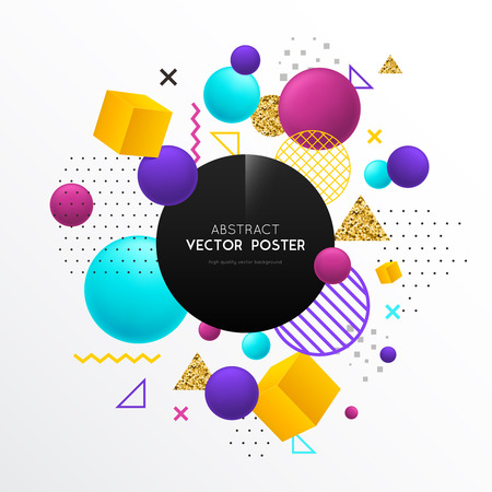 Realistic geometric shapes poster with composition of flat and solid bodies colorful geometrical entities with text vector illustration