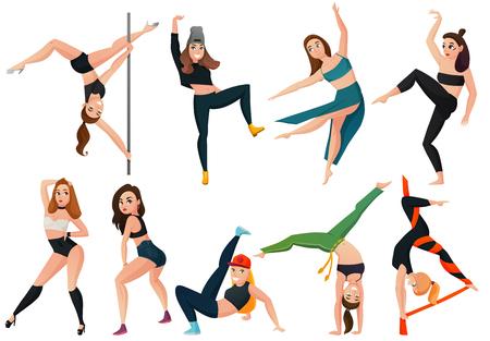 Reeks moderne soorten dans met hiphop, go-go, Braziliaanse vechtsporten geïsoleerde vectorillustratie