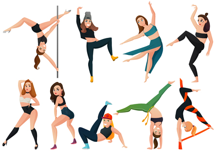 Set of modern types of dance with hip hop, go-go, brazilian martial arts isolated vector illustration