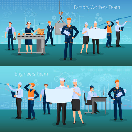 Factory workers team horizontal banners set with technology symbols flat isolated vector illustration