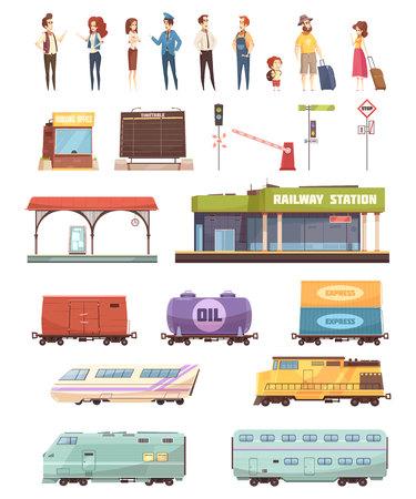 Die dekorativen Eisenbahnikonen, die mit Stationsgebäudefahrerreisentankbehälterfracht und -personenwagen eingestellt wurden, lokalisierten Vektorillustration Standard-Bild - 88540476