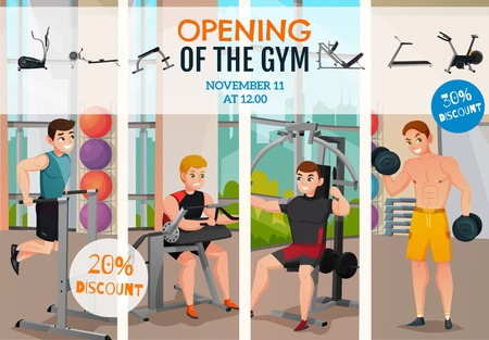 Gym opening advertising poster with men on exercise equipment and information about discounts vector illustration