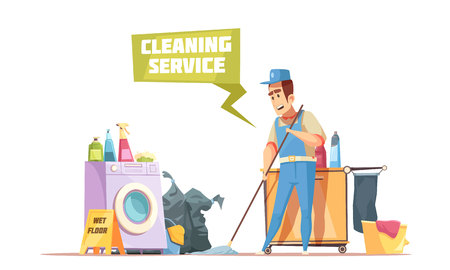 Cleaning service design composition with man washing floor by wet mop and sprays and cleansers in home interior flat vector illustration