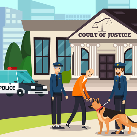 Policemen with dog and suspected in handcuff on background of court house orthogonal composition flat vector illustration