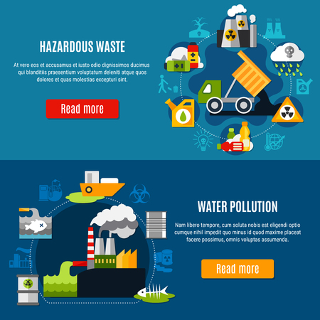 Pollution and waste horizontal banners set with ecology symbols flat isolated vector illustration