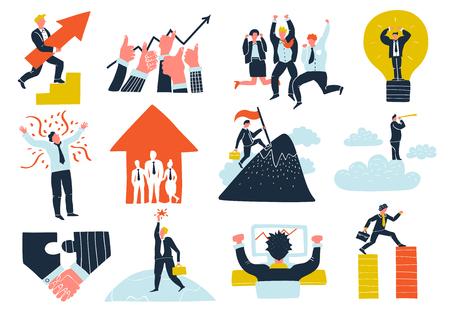 De inzameling van bedrijfssucces vlakke pictogrammen met van de het ideengroei van de groepswerksamenwerking van de de winstwinnaar de vieringssymbolen geïsoleerde vectorillustratie