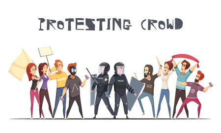 Protesting crowd design concept with cartoon characters of protesters and policemen armed with batons and shields vector illustration