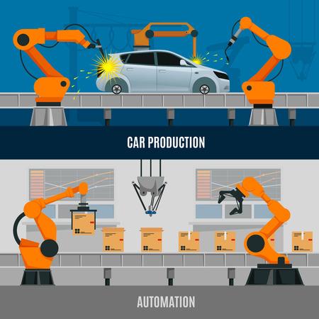 자동차 생산 기호 플랫 벡터 일러스트와 함께 설정하는 자동화 가로 배너