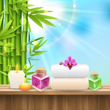 Colorful spa composition with set for spa treatment and bamboo shoots on blue sky background realistic vector illustration