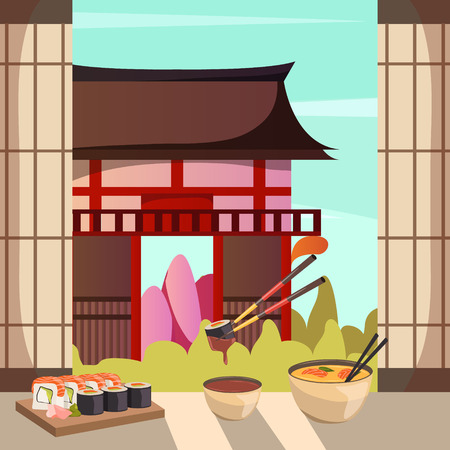 Japanese cuisine dishes with traditional historic building on background orthogonal composition with soy sauce sushi vector illustration Illustration