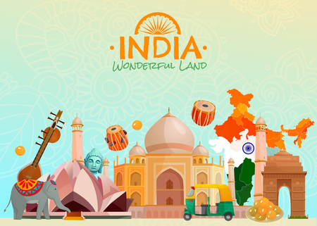Colorful travel poster with taj mahal lotus temple rickshaw and other symbols of wonderful land india cartoon vector illustration Illustration