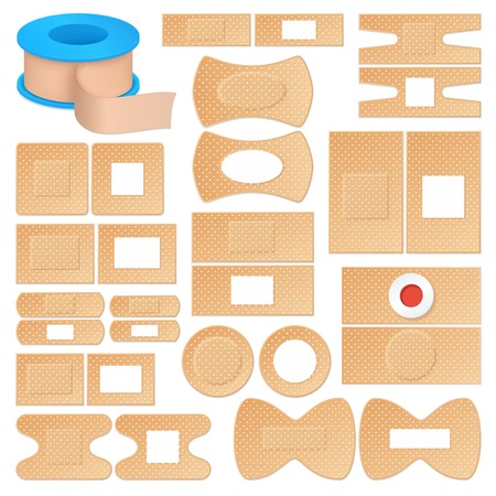 Set of realistic adhesive plasters of skin color, various shape outside and inside isolated vector illustration