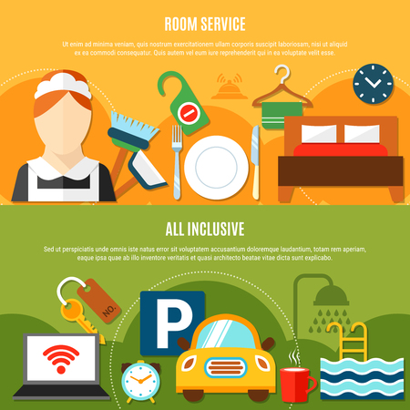 Hotel service horizontal banners with room service and all inclusive option items flat vector illustration Illustration
