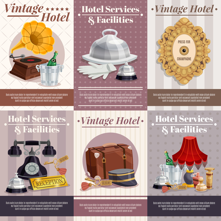 Colored vintage hotel poster set with best service and facilities descriptions and different attributes for work vector illustration