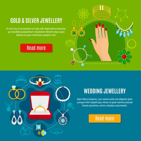 Gold and silver jewelry horizontal banners with wedding decorations on blue and green backgrounds isolated vector illustration