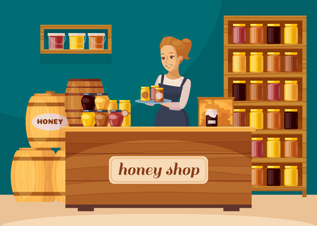Beekeepers apiary shop interior with honeycombs and shelves of jarred raw organic honey cartoon composition vector illustration