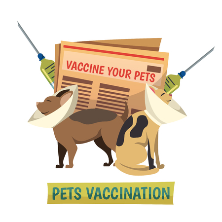 domestic policy: Compulsory pets vaccination orthogonal background composition with cat and dog in protective cone collars and syringes vector illustration