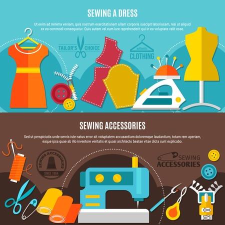 縫製ドレス シンボル フラット分離ベクトル イラスト入りアクセサリー水平方向のバナーを縫製
