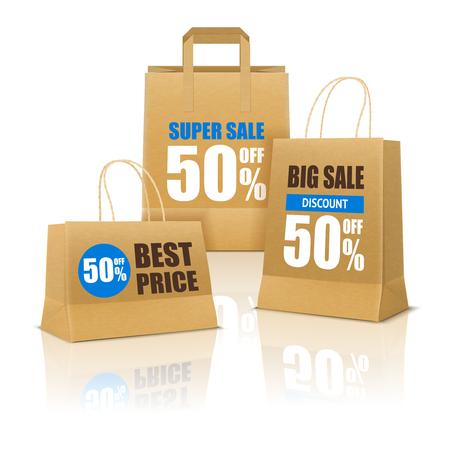 Shopping poster with three paper bags on smooth reflective surface and big sale advertising realistic vector illustration Çizim