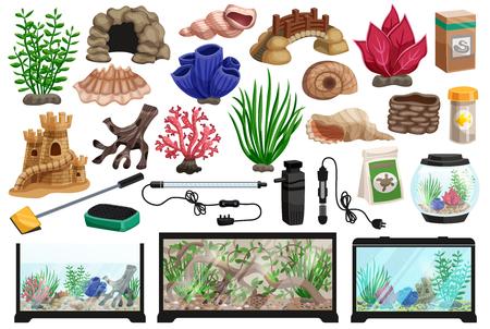 Aquarium underwater cartoon set with corals stones seaweeds seashells thermometer filter packaging food for fish vector illustration Ilustrace