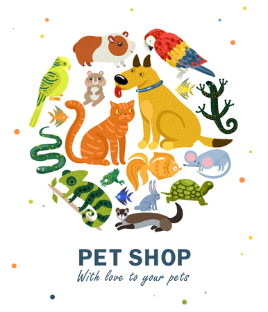 Pet shop round composition with various animals on white background with colorful spots vector illustration