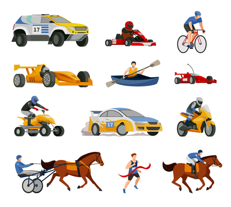 Racing flat icons collection of isolated images of motor racing cars bicycles race boats and chariots vector illustration Illustration