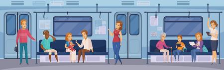 Métro souterrain de métro de voiture avec des passagers de londres tenant debout avec tablette dessin animé illustration vectorielle Banque d'images - 88540512