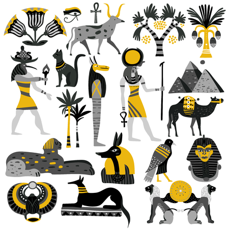 Egypt set of decorative icons with ancient gods, sphinx, scarab, pyramids, palm trees, ankh isolated vector illustration