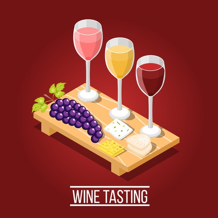 Isometric wine production background with images of wooden carving board wine glasses grape and cheese pieces vector illustration Illustration