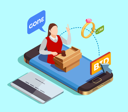 Auction isometric conceptual composition with smartphone and credit card images and faceless female character of auctioneer vector illustration