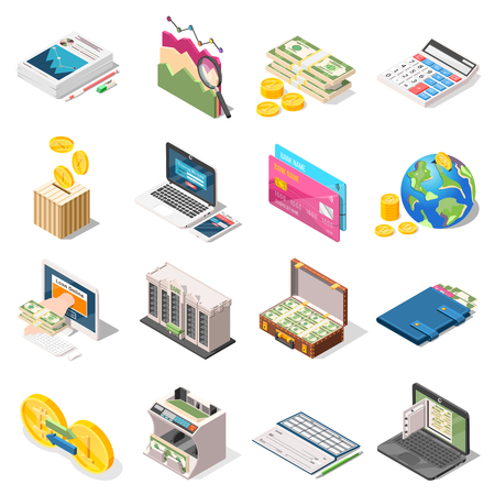 Accounting set of isometric icons with bank, loan online, money counter, analysis, planning, checkbook isolated vector illustration