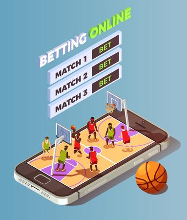농구 법원과 농구 아이소 메트릭 도박 온라인 개념 구성 bet 버튼 벡터 일러스트와 함께 스마트 폰 화면에 배치