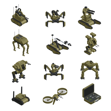 Fighting robots isometric icons set of sapper mortar walking tank spy robot military dog control panel isolated vector illustration