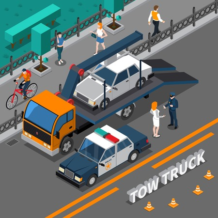 Isometric composition with tow truck carrying illegally parked car, policeman talking with woman vector illustration Ilustração